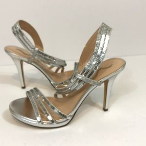 Nina silver sequin sparkle heels shoes pumps dress
